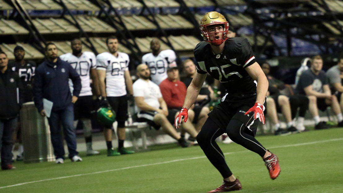 Marco Dubois at the 2018 Eastern Regional Combine presented by adidas in Montreal. (Photographer credit: Brianna Thicke/CFL.ca)