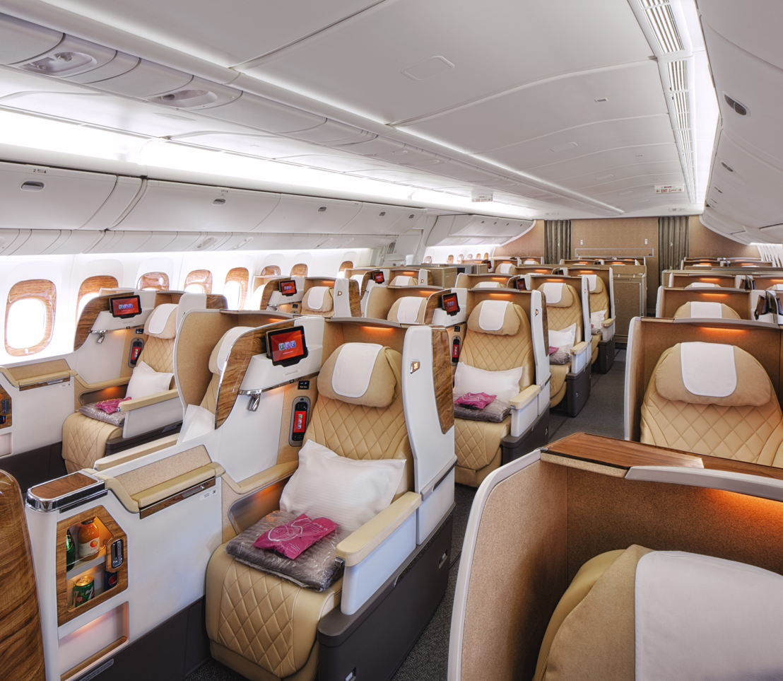 Emirates has unveiled a brand new Business Class cabin and configuration on its Boeing 777-200LR aircraft