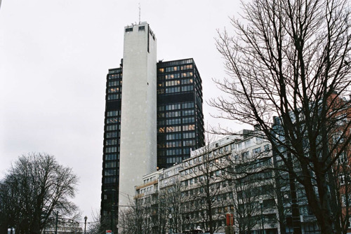 Urban art: tower transformed into a work of art