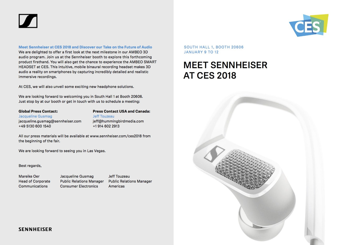 Meet Sennheiser at CES 2018 and Discover our Take on the Future of Audio