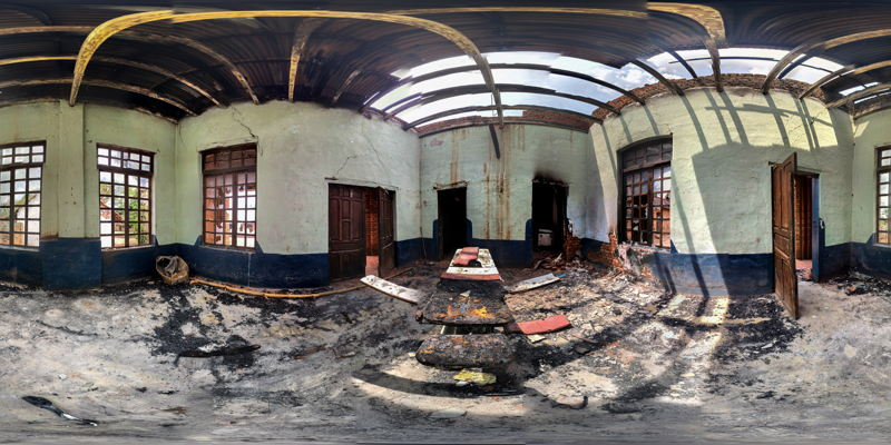 View of the completely destroyed operating bloc. Photographer: Marta Soszynska/
