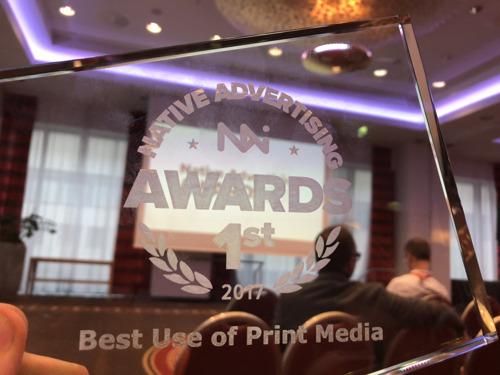 Mediazine wint goud op internationale Native Advertising Awards