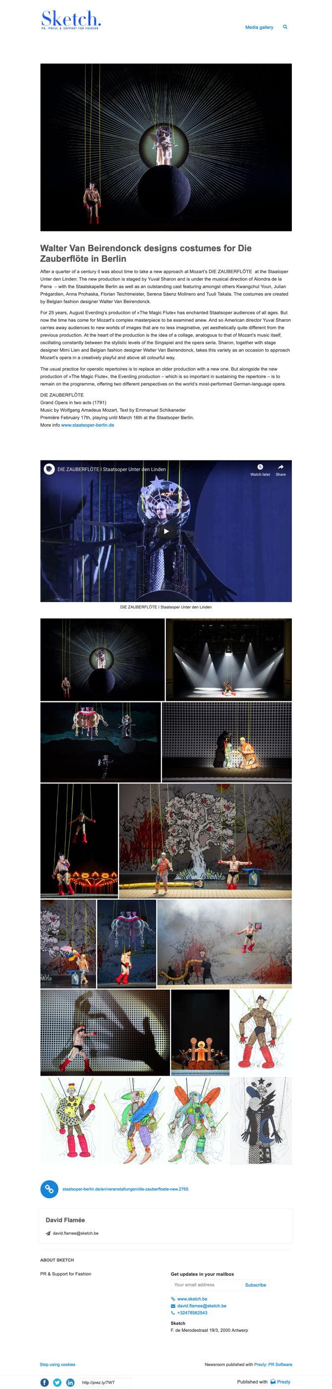 Walter Van Beirendonck designs costumes for Die Zauberflöte in Berlin
