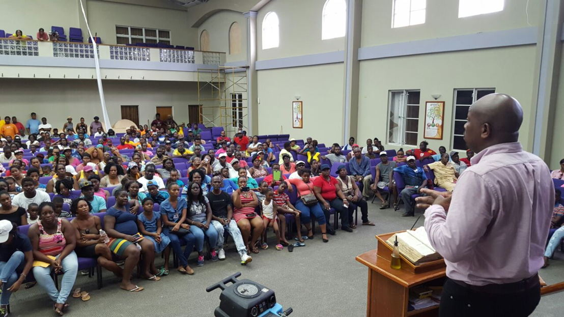 Town hall meeting with over 700 Vincentians in attendance. Church members from OECS are also present