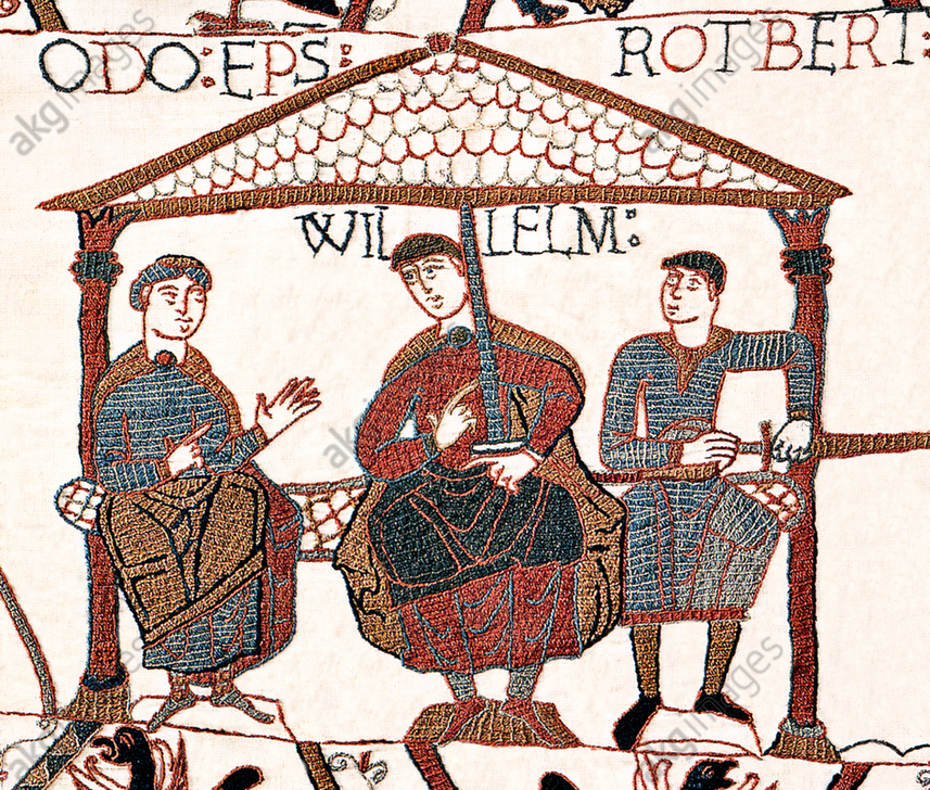 England / Normandy: William I (c. 1028 – 1087), usually known as William the Conqueror, with his half-brothers Odo (left) and Robert (right). Panel from the Bayeux Tapestry, 12th century<br/>AKG4566695