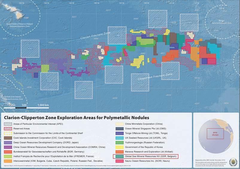 Clarion-Clipperton exploratie zone met aanduiding van concessiezones
