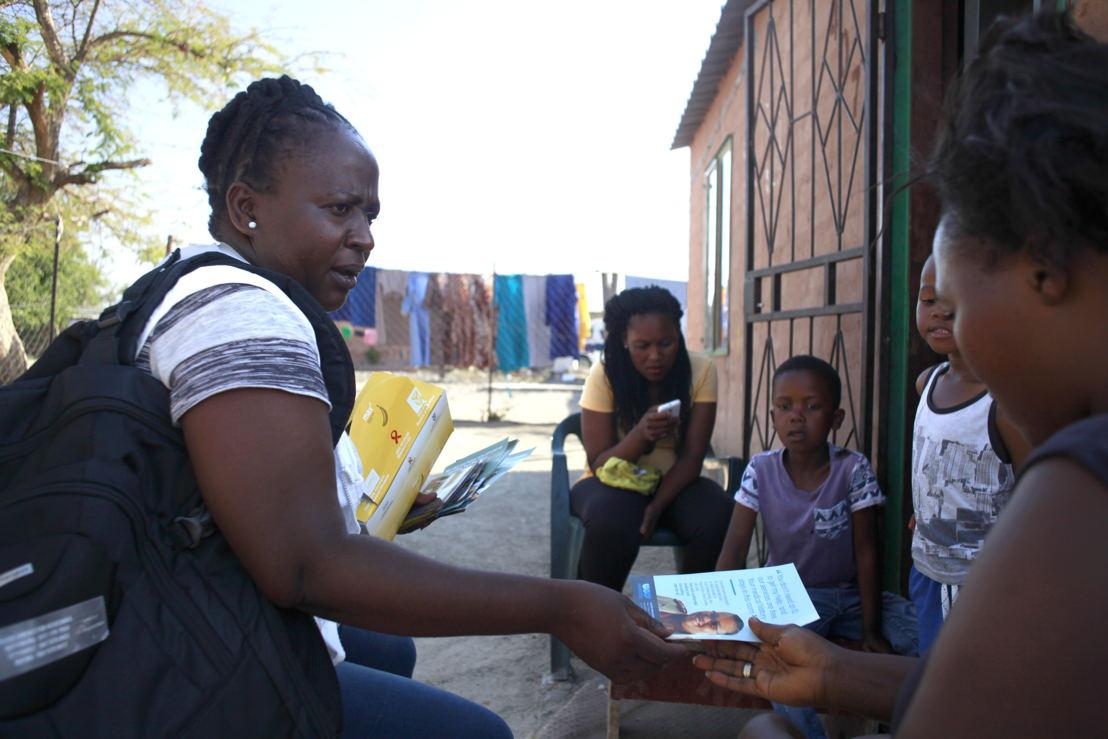 Community Health Worker Lydia Ganda conducting community awareness activities in Boitekong township in Rustenburg. Photographer: Siyathuthuka Media