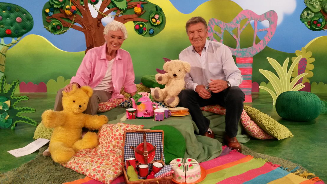 Benita Collings & Don Spencer with Play School's Big Ted & Maurice, Play School Celebrity Covers