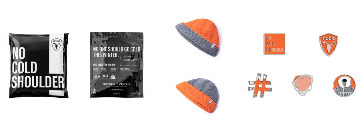 From left to right: Nobis No Cold Shoulder Donation Mailer Bag; Nobis No Cold Shoulder Unisex Reversible Beanie ($50 CAD); Nobis No Cold Shoulder Enamel Pin ($12 CAD each, $50 CAD for full set)
