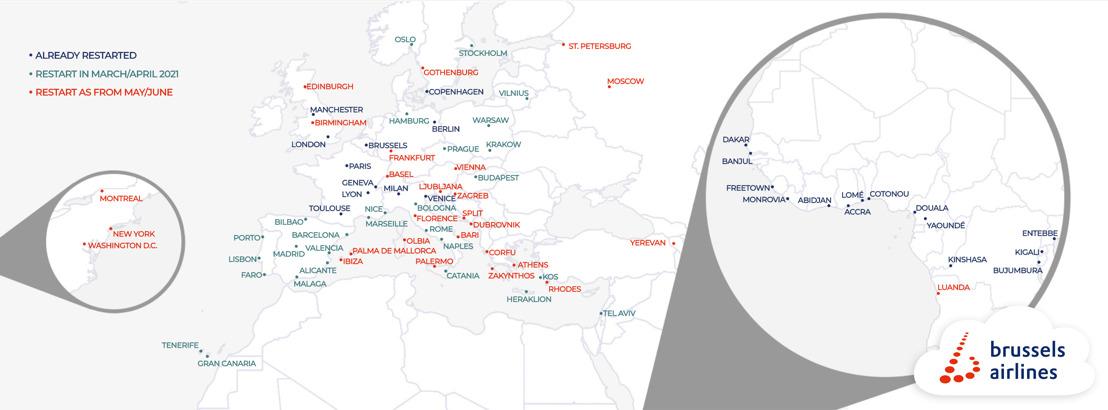 Brussels Airlines bereidt zich voor op de zomer met de heropening van populaire vakantiebestemmingen