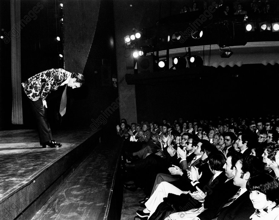 Charles Aznavour during a performance at Olympia in Paris.<br/>AKG1734635