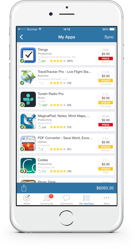 My Apps, App-Value on AppZapp Notify