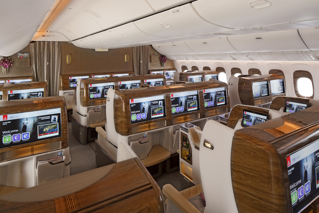 Business Class cabin on Emirates' new Boeing 777-300ER