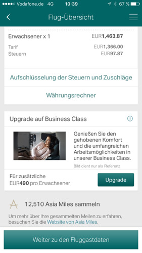 Cathay Pacific App in deutscher Sprache