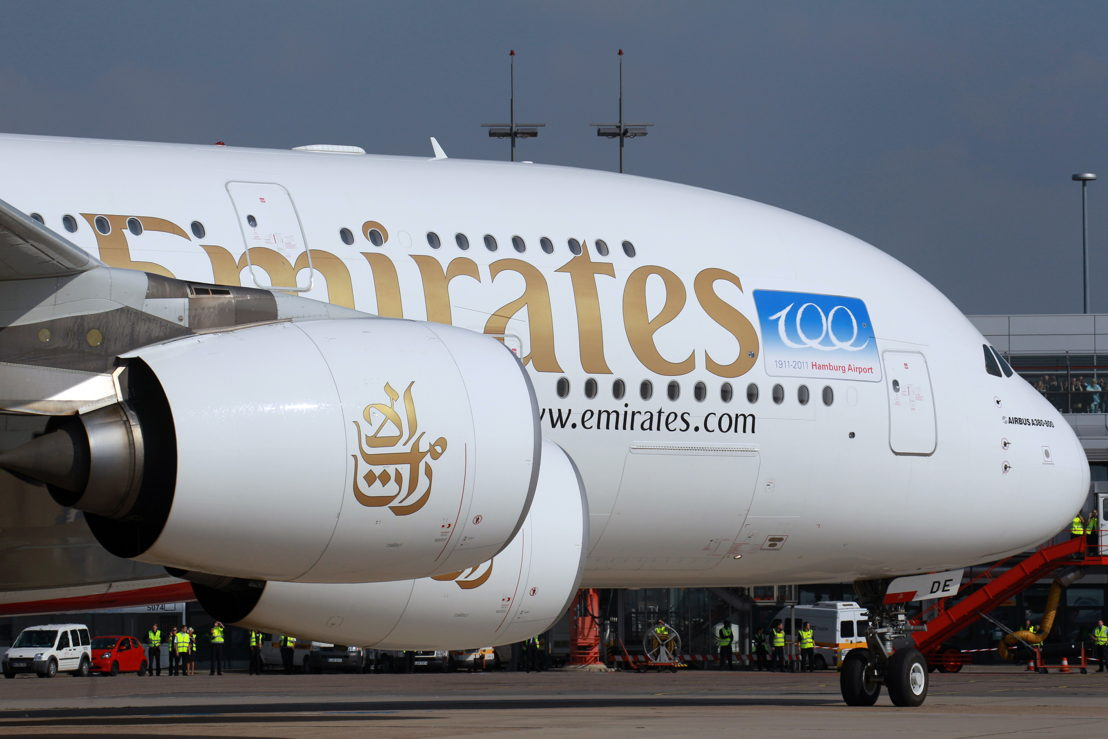 The Emirates A380 made its first Hamburg visit as one-off part of Hamburg Airport's 100th anniversary celebrations on 24 September 2011.
