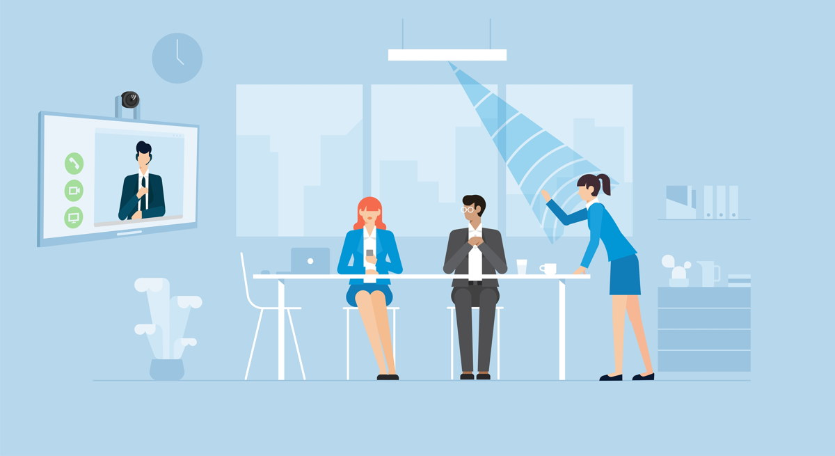 A ceiling microphone is a user-friendly solution for meetings with remote participants