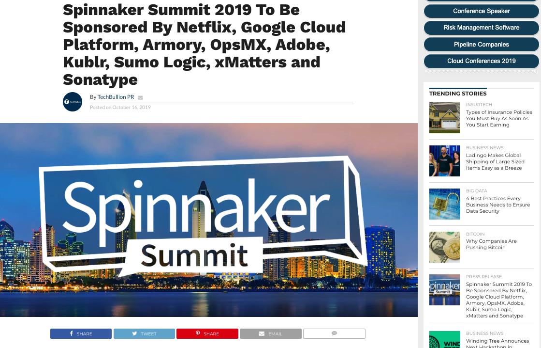Spinnaker Summit 2019 to Be Sponsored By Netflix, Google Cloud Platform, Armory, OpsMX, Adobe, Kublr, Sumo Logic, xMatters and Sonatype