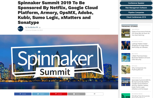 Preview: Spinnaker Summit 2019 to Be Sponsored By Netflix, Google Cloud Platform, Armory, OpsMX, Adobe, Kublr, Sumo Logic, xMatters and Sonatype