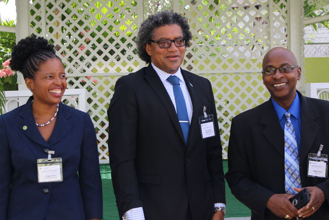(L-R)  Ms. Virginia Paul, Head of the OECS Trade Policy Unit; Hon. Bradley Felix, Minister for Commerce, Industry and Investment in St. Lucia; and Mr. Nigel Edwin, Director of International Trade in St. Lucia.