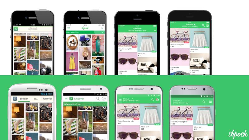 Die unterschiedlichen Shpock-Designs für iOS & Android im Laufe der letzten vier Jahre.