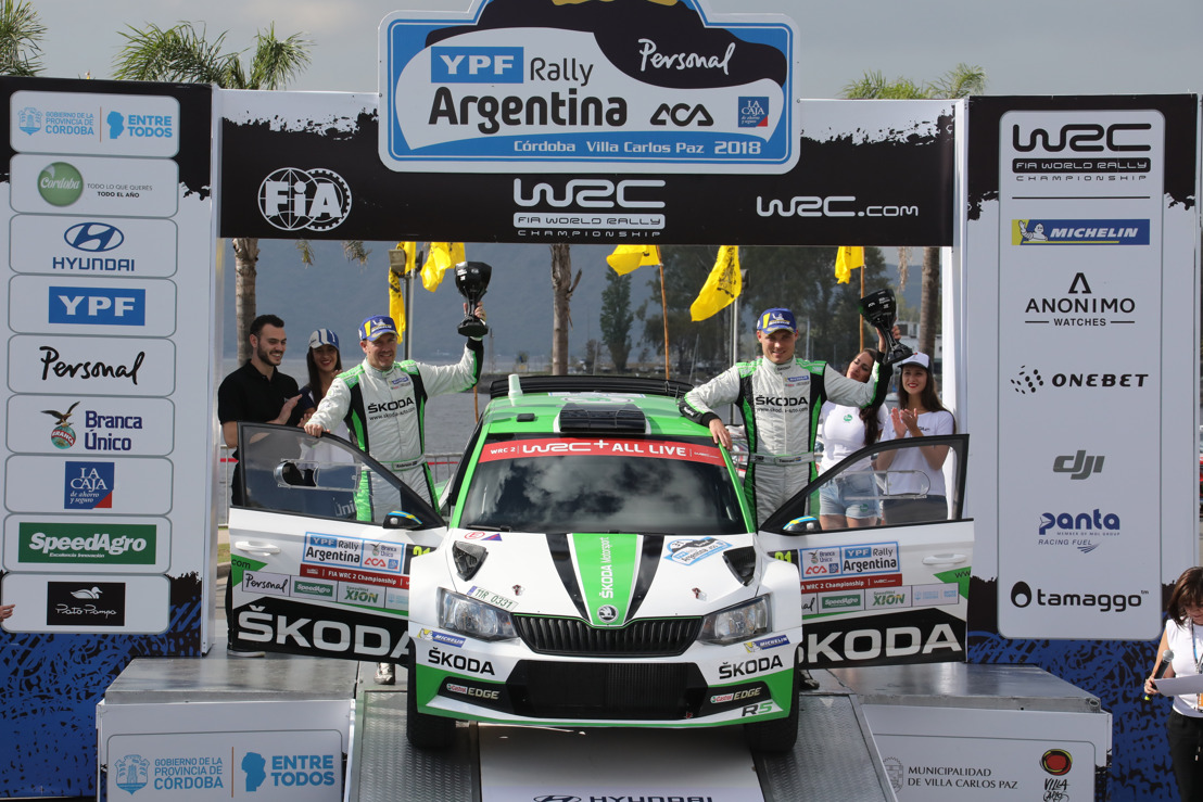 Rally Argentina: ŠKODA's Pontus Tidemand wins and takes lead in WRC 2 championship