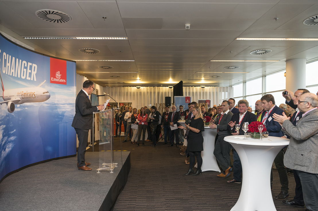Guests attend event to celebrate the arrival of Emirates' new Boeing 777-300ER in Brussels