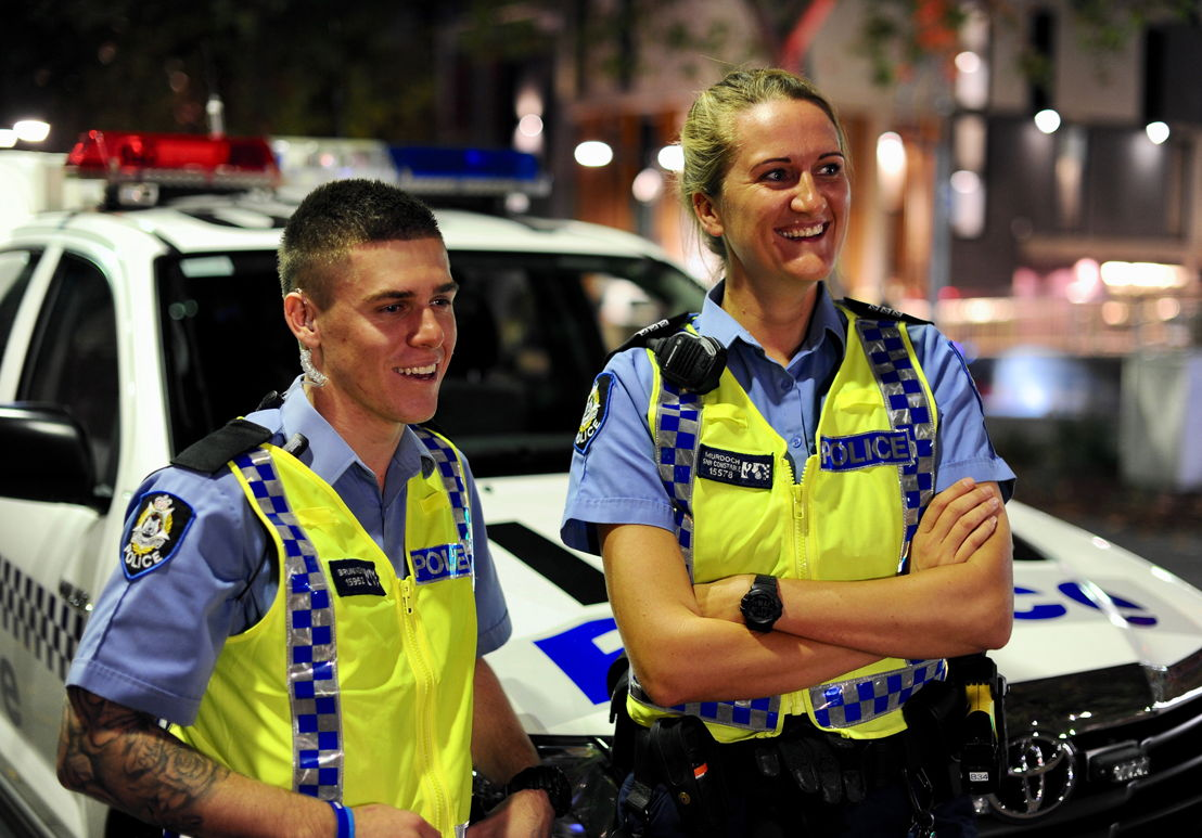 Click to download image of Perth Police Operation Night Safe officers Lee Brunnen & Leanne Murdoch