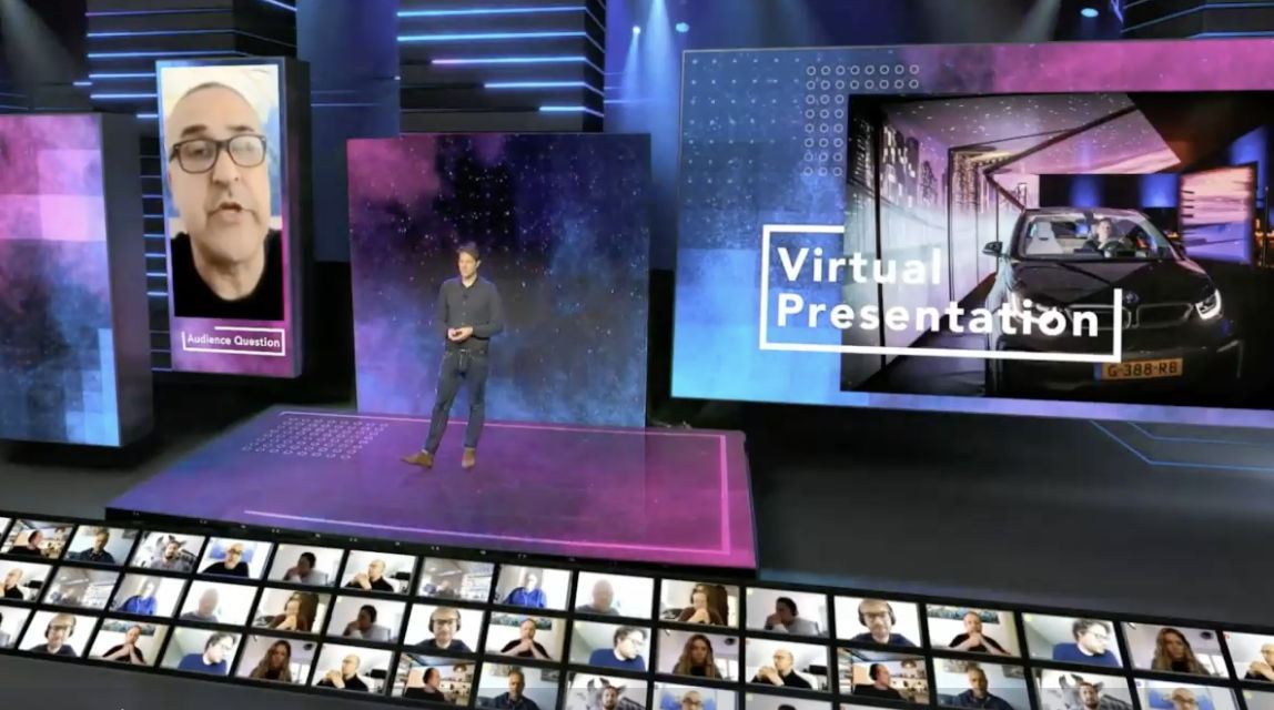 Live interaction between presenters on stage and remote audience