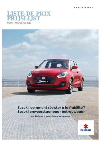 Prijslijst Suzuki Augustus 2019