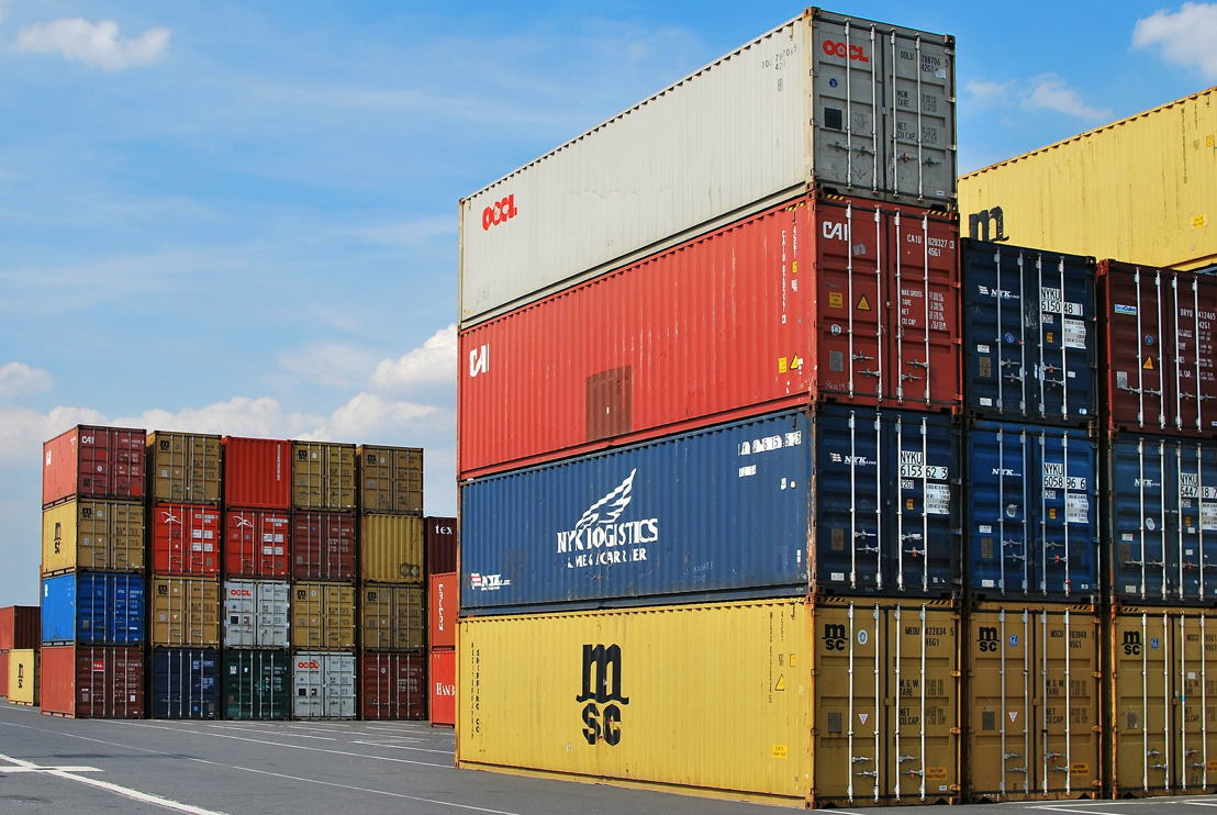 Photo of containers at a port.
