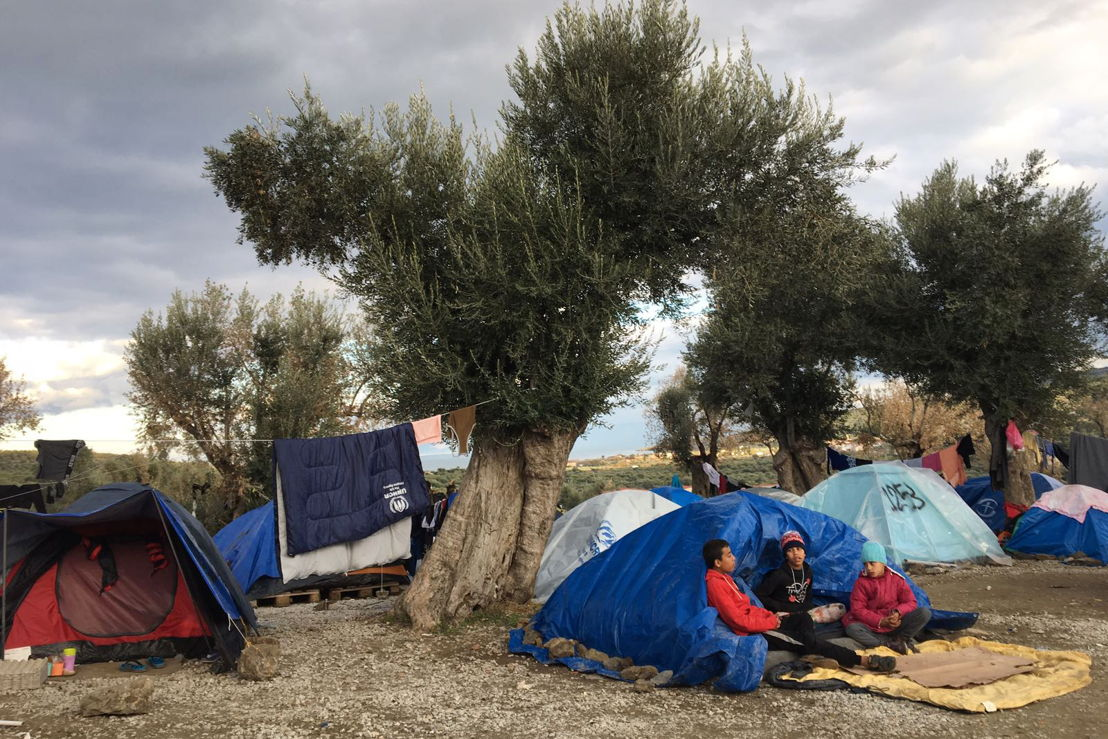 People living in summer tents on Lesbos, 04 December, 2017. Credit MSF