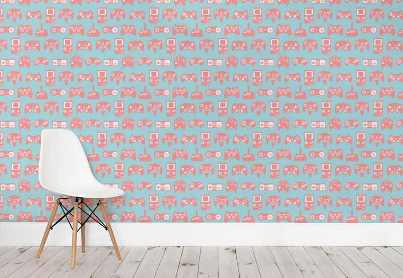 Pink and Blue Retro Game Wall Mural