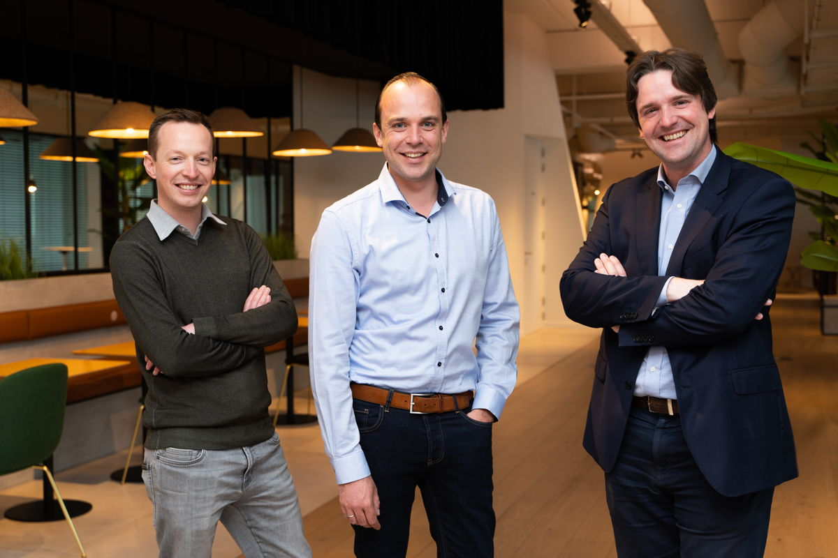 Lode Cools, Nicholas De Nil en Wim Hoornaert, de oprichters van het Gentse fintechbedrijf Bizzcontrol © Jaime Korbee