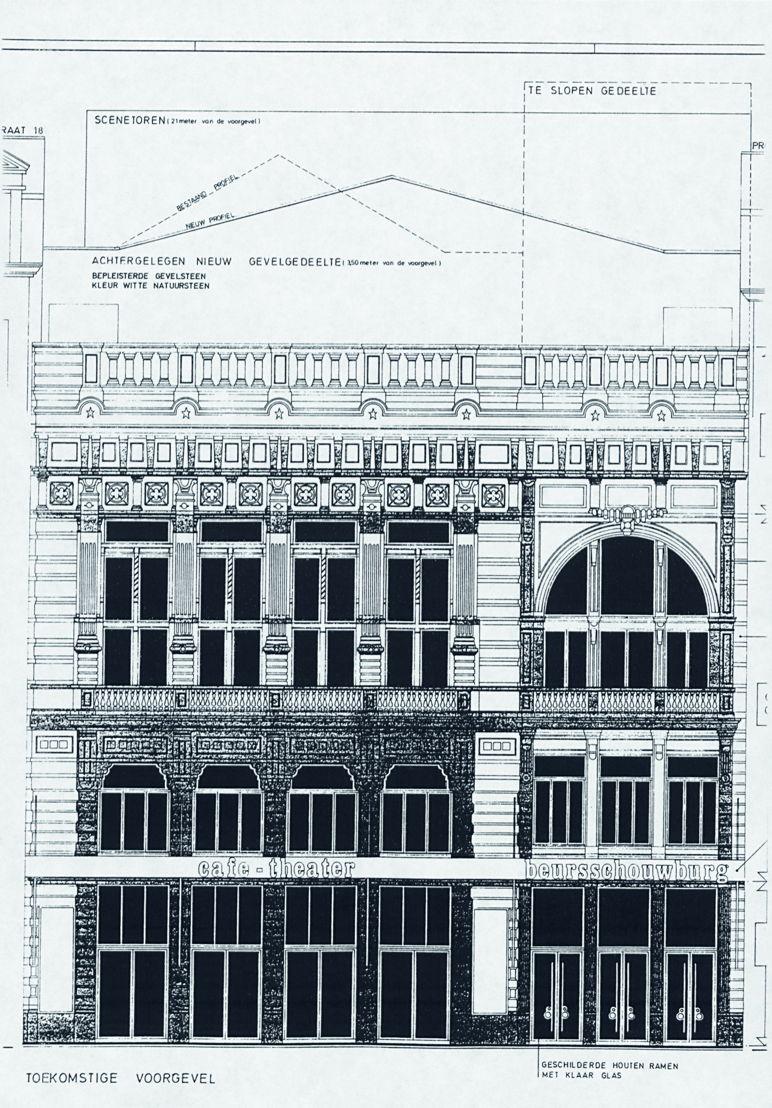 Geveltekening uit het plan van architect F.P. Vink, 1990