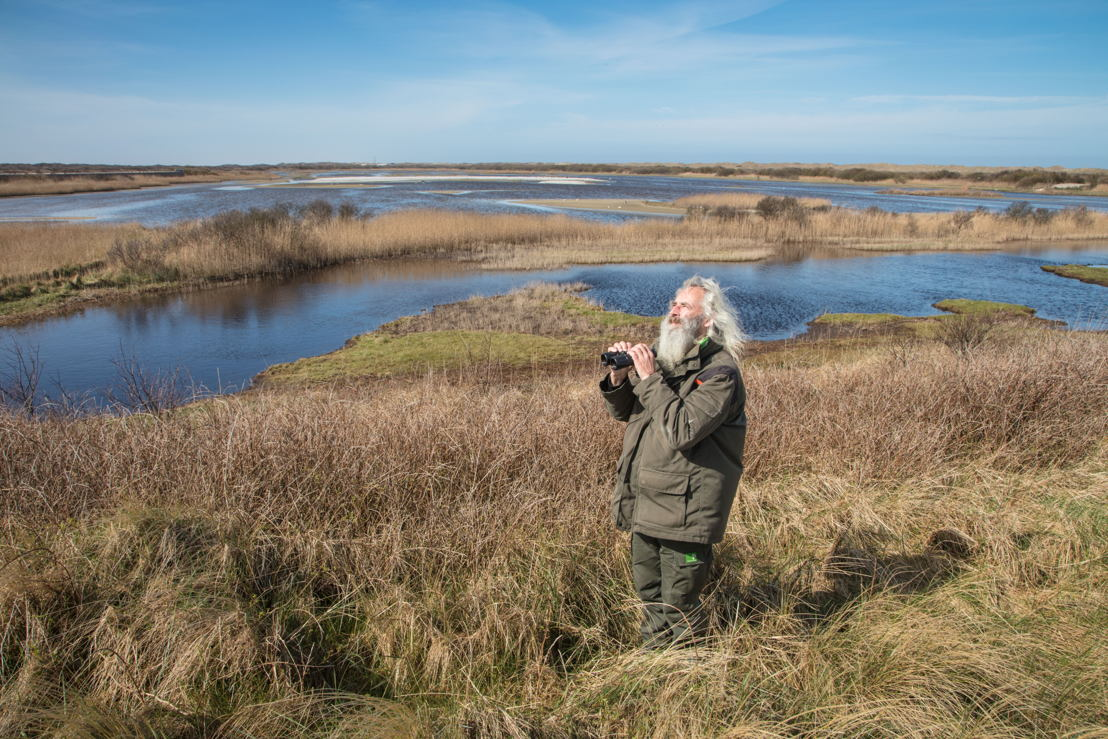 Ornithologist Herman Vogel at Kroon's Polders, Vlieland, West Frisian Islands, Friesland, Netherlands © Holger Leue for Merk Fryslan