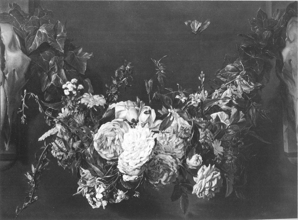 Guirlande met vlinder, Michaelina Wautier - Marie-Louise Hairs, Les peintres flamands de fleurs au 17e siècle (Brussel: Lefebvre, 1985)