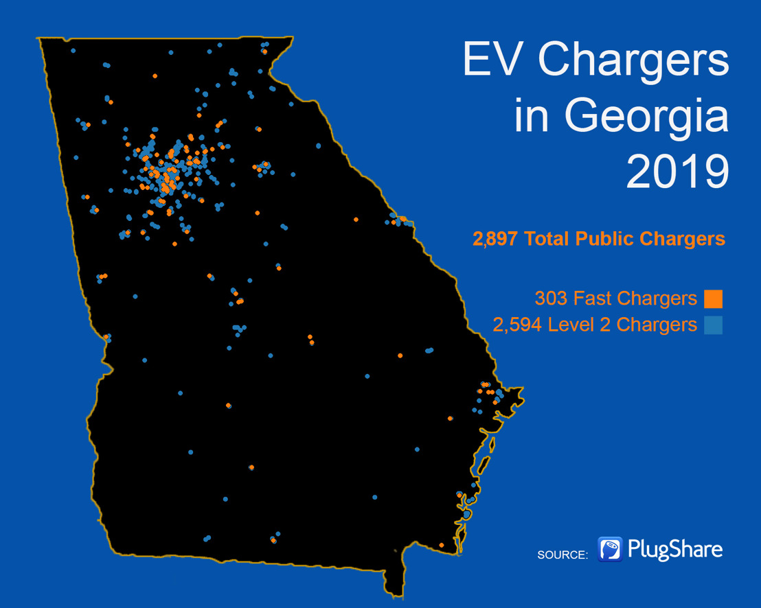Record Growth for Number of Public Electric Vehicle Charging Stations in Georgia Last Year