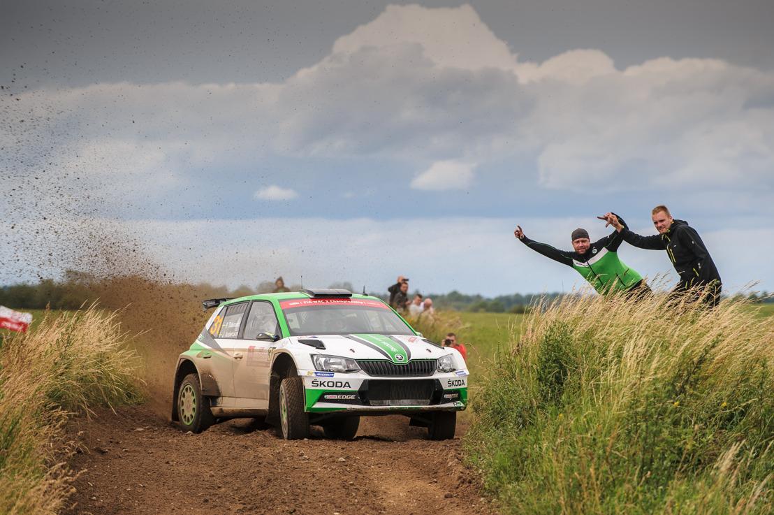 Rally Poland: ŠKODA dominating WRC 2 with Ole Christian Veiby leading Pontus Tidemand