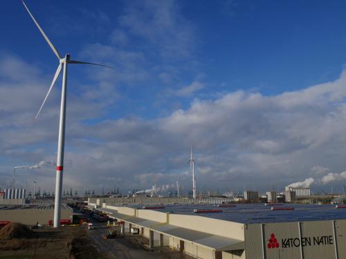 Luminus construit six nouvelles éoliennes chez Katoen Natie à Kallo