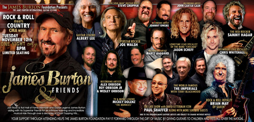 """Music All-Stars from Queen, The Eagles, The Monkees, Chicago and Many More to Unite in Nashville for """"James Burton & Friends"""""""