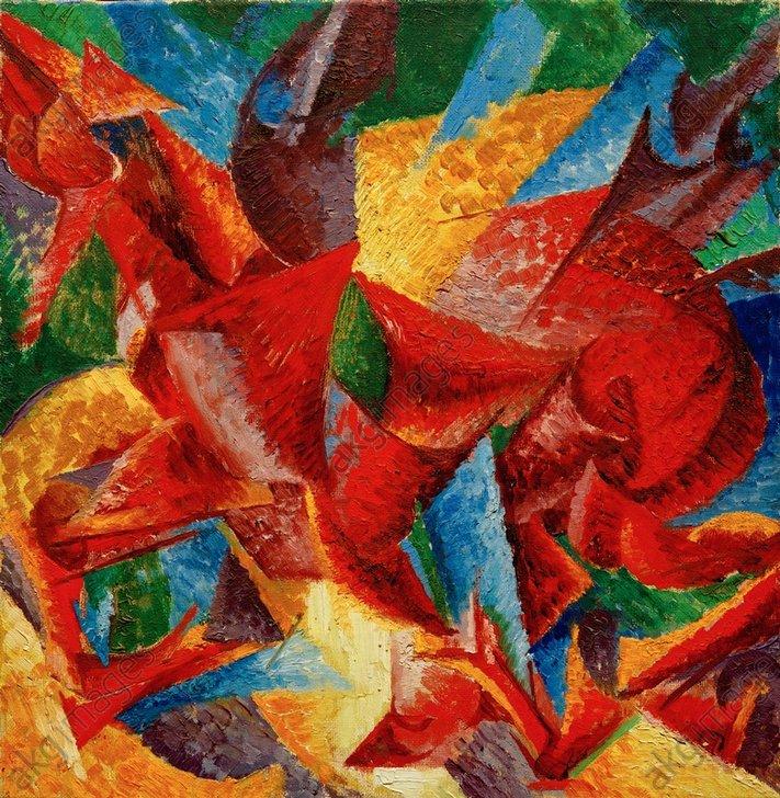 """Umberto Boccioni, """"Forme plastiche di un cavallo"""" (Plastic forms of a horse), 1913/14.<br/>Oil on canvas, 40 × 40 cm. Private Collection.<br/>AKG995830"""