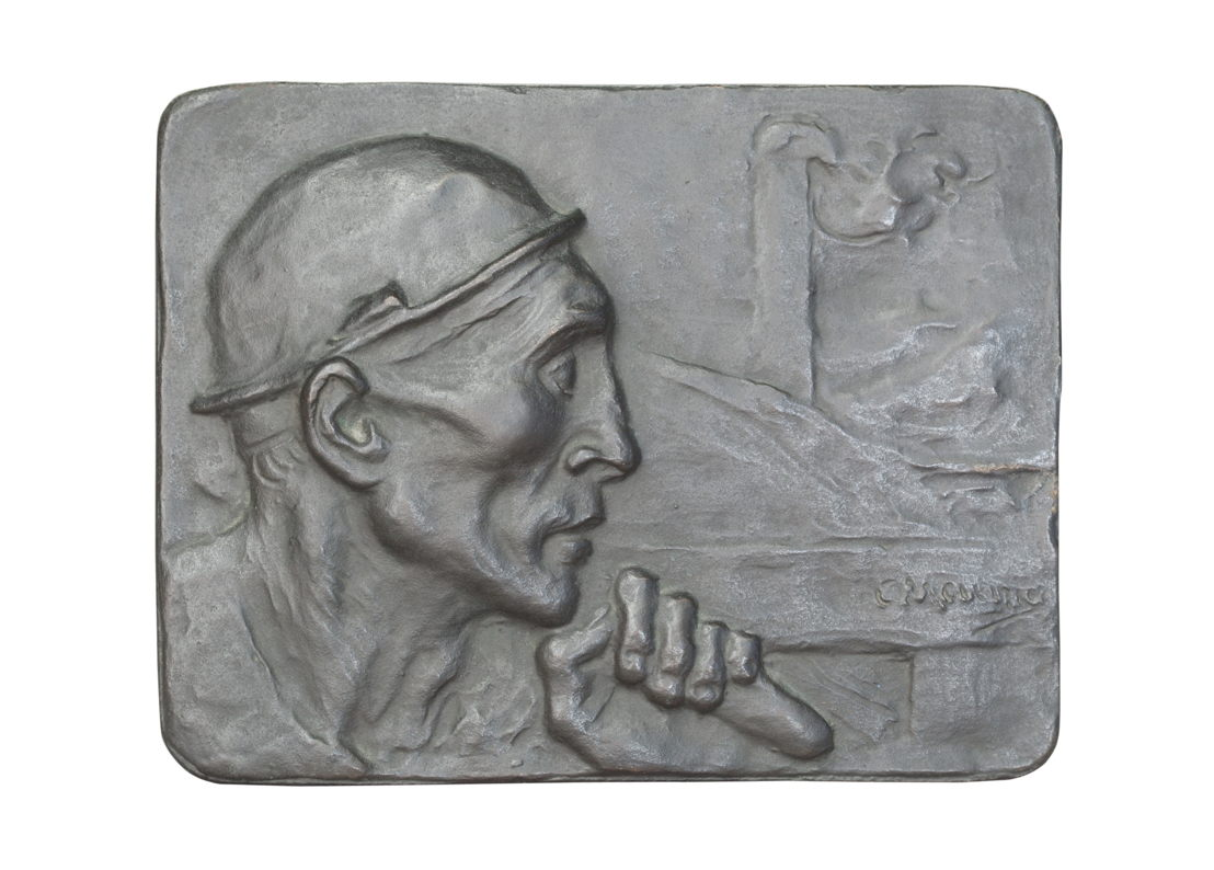 Constantin Meunier, Plaque of a Miner Made for an Antwerp Coal Merchant (Edouard Taymans) [title given by Allan Sekula], bronze, 1904, 16,7 x 21,5 x 0,4 cm. Purchased by Allan Sekula through eBay on 13 June 2010. ©The Estate of Allan Sekula. ©Photo: Ina Steiner. Collection M HKA, Antwerp.