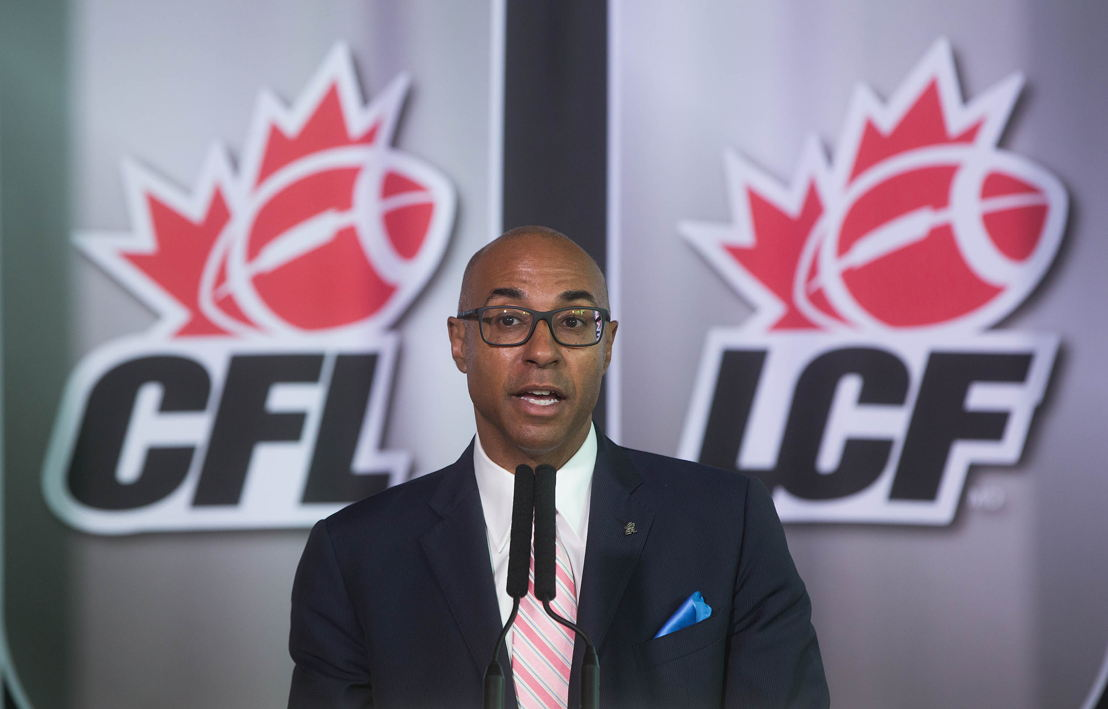Canadian Football League Commissioner, Jeffrey L. Orridge speaks at the violence against women policy announcement in Vancouver, British Columbia.
