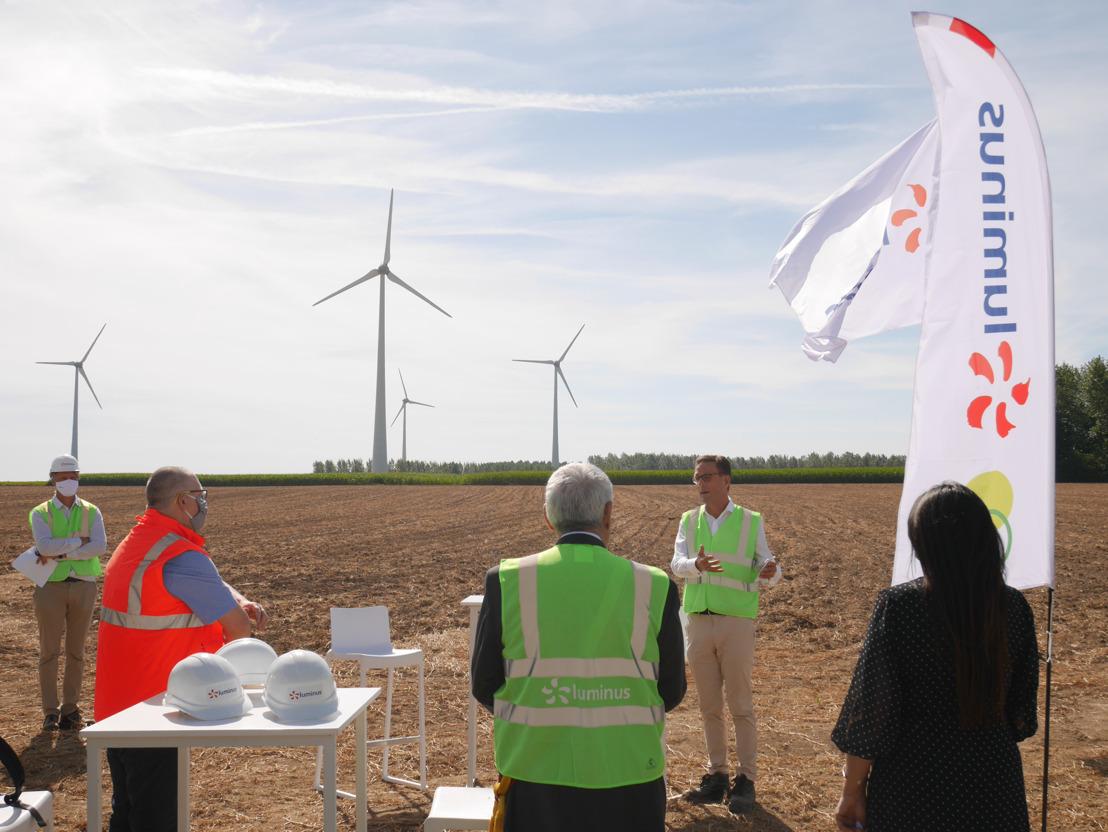 Visite de la Ministre Marghem au chantier d'extension du parc éolien de Tourpes