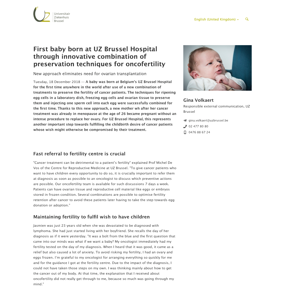 First baby born at UZ Brussel Hospital through innovative combination of preservation techniques for oncofertility