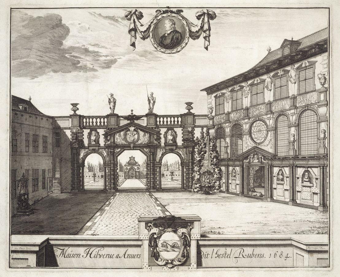 Harrewijn, Jacobus (engraver), after Croes, Jacques van (designer), The Rubens house in Antwerp, 1684, RH.P.1113, Collection City of Antwerp, The Rubens house, photo Michel Wuyts, Louis De Peuter