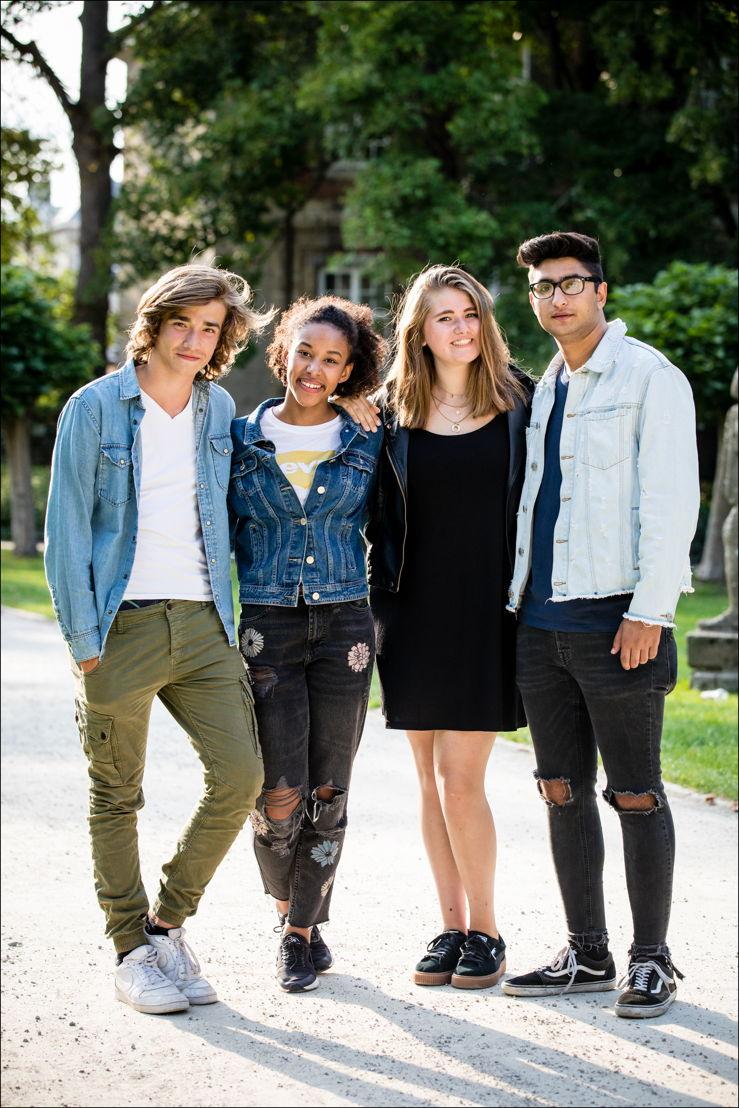 Vlaamse cast 4eVeR: Aaron Blommaert, Sofie Bulckens, Rani Van Damme en Amir Motaffaf