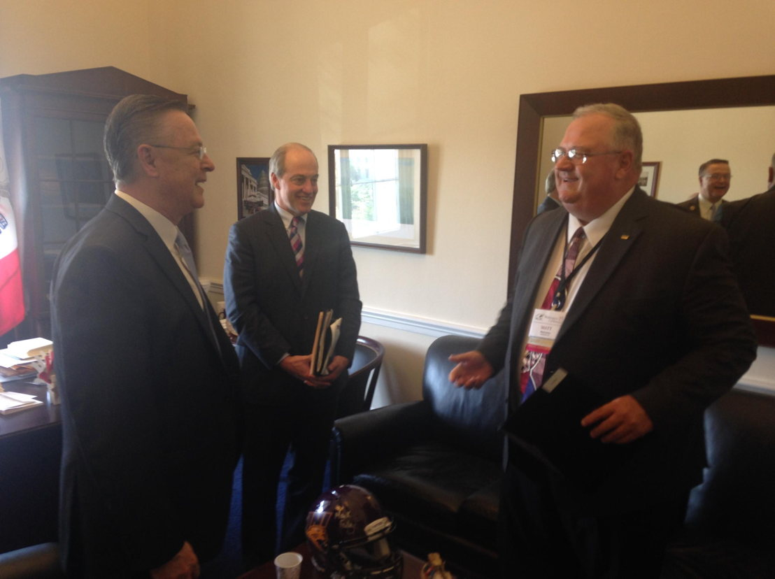 GROWMARK board member Matt Heitz and Chuck Spencer, director of government affairs, visit with Congressman Rod Blum (IA) about important ag issues for the state of Iowa.
