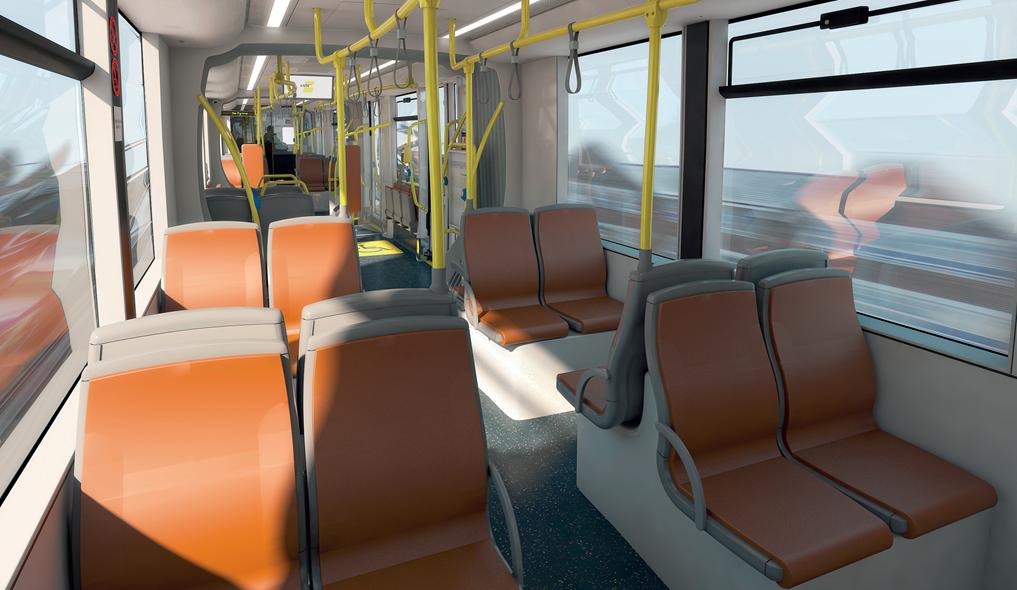 Zetels in recuperatieleder in de nieuwe CAF-trams.