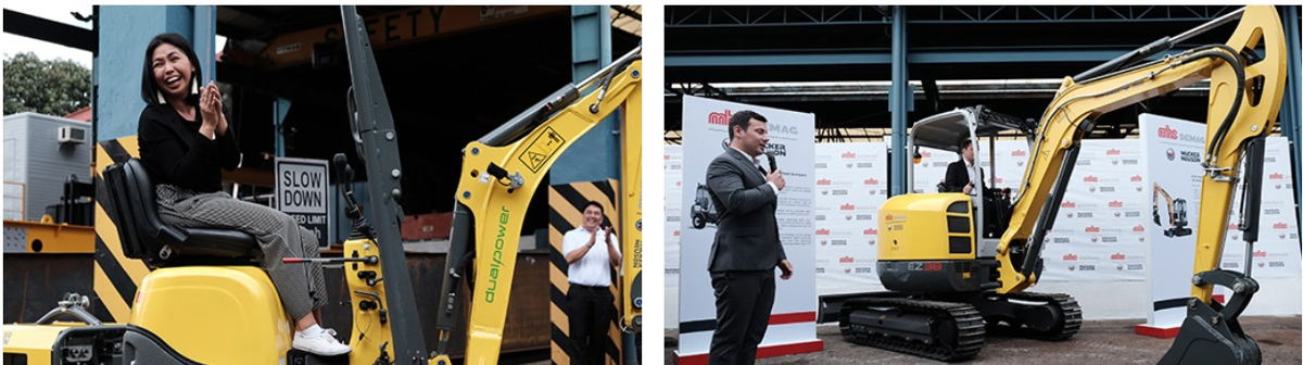 Left: Guest is having fun when operating the 803 Dual Power- Tracked Conventional Tail Excavator. Right: Marc Von Grabowski, President of MHE-Demag Philippines, is presenting the EZ38 Tracked Zero Tail Excavator